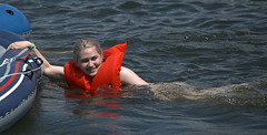A Dip In The River (Scott 97006) Tags: water river swim lifevest woman blonde female lady wet cute raft