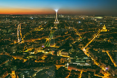 Paris, Eiffel tower at evening sunset blue hour (A. Aleksandravičius) Tags: paris france tower skyline night view eiffel aerial city travel blue light sunset sky urban panorama building tourism beautiful architecture french landscape golden evening town europe european cityscape tour top background postcard famous capital landmark tourist panoramic illuminated toureiffel montparnassetower traveldestination