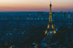 Paris, Eiffel tower at evening sunset blue hour (A. Aleksandravičius) Tags: paris tower night eiffel city travel blue light sunset sky urban panorama france building tourism beautiful skyline architecture french landscape golden evening town europe european cityscape tour view top background postcard famous capital landmark tourist panoramic aerial illuminated toureiffel montparnassetower traveldestination