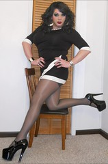 B&W Dress (therealdavinawayne74) Tags: boi boytogirl blacktights blackpantyhose crossdresser crossdressing crossdressed crossdress dragmakeup dragqueen drag femme feminized hosiery highheels heels gurl nylons pantyhose pumps stilettoheels tgirl transvestite tranny tights trans