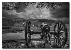 At Little Round Top...Gettysburg... (Roger Lancaster Photos) Tags: gettysburg cannon civilwar pennsylvania blackwhite
