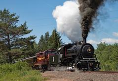 Departure from Larsmont (jterry618) Tags: 280 alcopittsburg1906 americanlocomotivecompany dmir193 dmir332dne28 dmn332dmir332dne28 duluthnortheastern duluthmissabeironrange emdsd181960 lsrm lakesuperiorrailroadmuseum larsmont minnesota northshorescenicrailroad