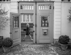 par la porte (Jack_from_Paris) Tags: l3009648bw leica m type m10p 20021 leicaelmaritm28mmf28asph 11606 dng mode lightroom capture nx2 rangefinder télémétrique bw noiretblanc monochrom blackandwhite monochrome wide angle street boulogne sur mer rue photography porte door femme woman passante