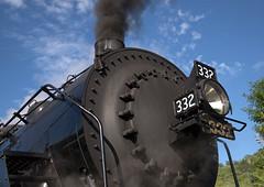 332's Front End (jterry618) Tags: 280 alcopittsburg1906 americanlocomotivecompany dmir332dne28 dmn332dmir332dne28 duluth duluthnortheastern duluthmissabeironrange lsrm lakesuperiorrailroadmuseum minnesota northshorescenicrailroad detail headlight servicingattheshop smokebox