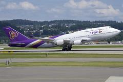 Thai Airways Boeing 747-400; HS-TGA@ZRH;14.07.2019 (Aero Icarus) Tags: zrh zürichkloten zürichflughafen zurichairport lszh plane avion aircraft flugzeug thaiairways boeing747400 hstga takeoff jumbojet