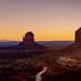 Sunrise over Monument Valley Arizona with sunburst