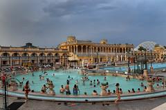 baths (Karol Franks) Tags: szechenyi thermal baths budapest water pools people stormy skies swim summer evening tourists hungary