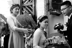 . (Out to Lunch) Tags: traditional vietnamese engagement party saigon ho chi minh city vietnam blackwhite monochrome indooroutdoor ceremony happy day maides honor fuji x100t