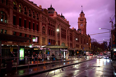 Purple Hour (bobarcpics) Tags: flindersstreetstation tramstop clocktower people streetscape melbourne dusk reflections tram historicbuilding melbournearchitecture famousstreet