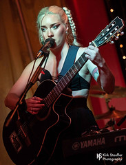 Laura Hickli @ Café Racer (Kirk Stauffer) Tags: kirk stauffer photographer nikon d5 adorable amazing attractive awesome beautiful beauty charming cute darling fabulous feminine glamour glamorous goddess gorgeous lovable lovely perfect petite precious pretty siren stunning sweet wonderful young female girl lady woman women live music concert show gig tour lights lighting singer musician band group indie long blonde hair braids white teeth red lips blue eyes abs stomach model tall short fashion style jacket photo portrait smiling bokeh tattoo playing acoustic guitar