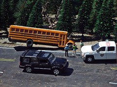 Sheriff's log 7/15/2019 (THE RANGE PRODUCTIONS) Tags: greenlight walthers boley motormax model dioramas diecast diecastdioramas display schoolbus jeep chevroletsilverado jeepcommander international hoscalefigures 164scale 187scale modular toy