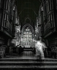 The Visitor (Diane Michaud Lowry) Tags: churches newfoundland downtown stjohnsnewfoundland june2019 longexposure blackandwhite monochrome ghost chapel visitor