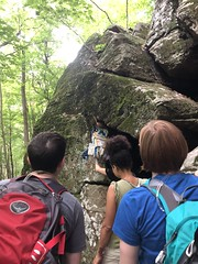 Reaching Down For The Backpacks (amyboemig) Tags: 4th july summer tvop notch mt norwottuck ma thursday hike hiking people backpack reach