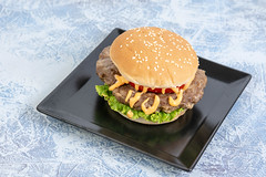 Hamburger with Tomato Lettuce and Sauce on the square plate (wuestenigel) Tags: unhealthy american big slice bread snack fat salad onion delicious meal cheese sandwich vegetable eating cheeseburger bun lettuce isolated meat grilled ketchup fresh fast tasty burger tomato food classic sesame closeup cuisine hamburger lunch object seed beef background dinner white
