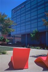 restful red (Riex) Tags: red rouge loungechairs chaisestongues eats chaises chairs patio baymeadows guidewire sanmateo california lomography lomo x612 6x9 120 medium format moyen film belairgon 90mm zenit kodak ektar iso100 cpl