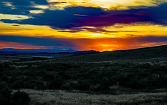 Sunset From Red Gulch Tracksite (wyojones) Tags: wyoming bighorncounty bighornbasin greybull shell redgulchtracksite badlands sheepmountain steppe beartoothplateau sagebrush arid sunset reevescorner