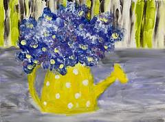 Finger Painting Whimsy (BKHagar *Kim*) Tags: bkhagar art painting paint acrylic fingerpainting wateringcan flowers polkadots yellow