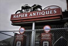 Napier's Country Antiques est. 1969 (SonjaPetersonPh♡tography) Tags: milner antiques napierscountryantiques est1969 antiquestore vintage bc britishcolumbia canada historicvillageofmilner nikon nikond5300 village old gaspumps motorcycle