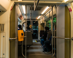 Inside A Seattle Streetcar During A Wet Day in July (AvgeekJoe) Tags: d7500 dslr kingcounty nikon nikond7500 seattle seattlestreetcar southlakeunionline southlakeuniontrolley usa washington washingtonstate masstransit publictransit publictransportation streetcar tram urbanrail