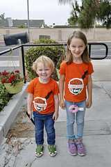 Ash Day 934 (evaxebra) Tags: ash luna siblings brother sister orange camp shirt matching matchies school sidewalk morning keychain donut