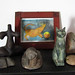 kleiner hausaltar (lualba) Tags: hausaltar kunst tara margretgreenmanbild ägyptischekatze sphinx stein bastet cat magic cow kuh world weltkugel