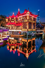 YuYuan TeaHouses (Scholesville) Tags: azrinaz azrinazphotographie azrinazcom shanghai shanghaitower yuyuan yuyuangardens gardens bluehour reflections china chinesejapanesegarden chinatown chinese architecture ancient medieval twilight nightscape longexposure slowshutter colours