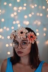 Summertime sadness. (Saragraphs) Tags: art woman girl blueeyes moody melancholy sadness sad brunette portrait selfportrait selfie me fairylights fairy bokeh 50mm sigmaart sigma canon