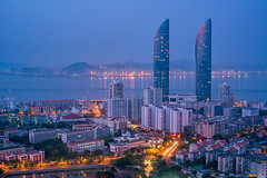 Dagger (Jaykhuang) Tags: xiamen fujian china morning bluehour nightphotograhy jayhuangphotography summer conrad landmark waterfront skyscraper building twintowers architecture cityscape