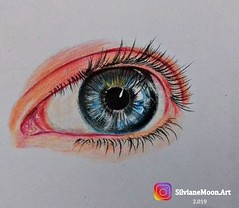 Blue Eyes, by Silviane Moon. (Silviane Moon) Tags: realism sketch art cansonpaper eyes blueeyes grayeyes drawing training coloredpencil fabercastell silvianemoonart silvianemoon illustration