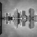 reflective rooftops (pbo31) Tags: bayarea california nikon d810 boury pbo31 summer sanfrancisco blackandwhite monochrome city urban chinatown frenchquarter roof skyline architecture financialdistrict over gray reflection salesforce mirror panoramic large stitched panorama