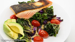 Pan-fried salmon with a warm salad of kale sprouts, red cabbage, and cherry tomatoes. (garydlum) Tags: avocado butter cabbage cream horseradishcream kalesprouts salmon tomatoes