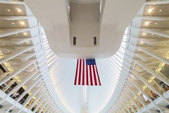 God Bless America (PLF Photographie) Tags: new york city manhattan street rue graphisme architecture graphism wide angle laowa 12mm wtc world trade center building flag symbol usa station