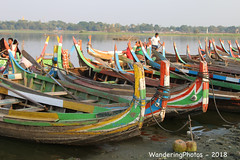 Boats waiting for the tourists - U Bein Bridge Taungmyo Lake Amarapura Mandalay Myanmar (WanderingPJB) Tags: accumulation flickruploaded myanmar burma mandalay buddhism ubeinbridge taungmyolake amarapura boats tourist
