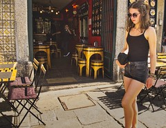(Plane Sight Images) Tags: barrels outdoors girl bar color streetphotography