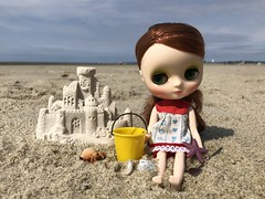 Lena's castle (Foxy Belle) Tags: beach travel vacation sand middie blythe doll lena elena august 2013 bucket yellow outside nature summer tutti shirt castle shells red hair redhead