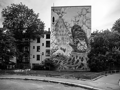 (morten f) Tags: street art mural oslo norge norway 2019 monochrome black white sort hvitt city photography house wall