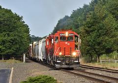 Morning Fireball (csx7661) Tags: train railroad railfan photography railroading nikon explore inexplore sky green summer red diesel trains locomotive newjersey
