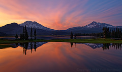 Sunset Echoes (pdxsafariguy) Tags: usa oregon water nature sky reflection landscape lake sunset scenic sparkslake snow forest mountain trees island peak deschutesnationalforest meadow calm southsister brokentop cascades clouds tomschwabel