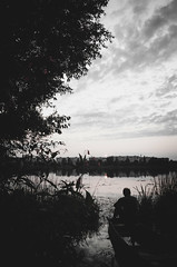 Sunset (NathanNyx) Tags: blackwhite monochromephotography nature cloudy park forest boat silhouette cloud sky clouds water tree trees plant skies plants woody kovel koveltoday turija atmosphere moody sunset evening dusk waters