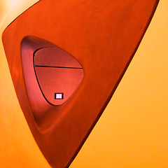 Square peg in a round hole (Arni J.M.) Tags: architecture interior gallery squarepeginaroundhole colourprocessed wall hole screen curves zahahadid rocagallery london england uk