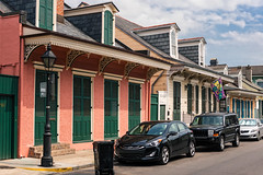 French Quarter (1734) v177 New Orleans, LA (lumierefl) Tags: neworleans nola orleansparish cityofneworleans bigeasy crescentcity louisiana la southeast gulfcoast port french unitedstates usa northamerica architecture building residential house home block cottage creole shotgun dormer parkedcars 19thcentury