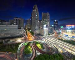 Shinjuku West Gate (Wolfics) Tags: tokyo japan shinjuku panorama odakyu night blue hour sony alpha a7iii full frame buildings architecture highway street traffic golden week
