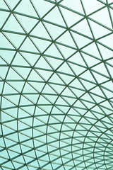 Triangle pattern (hakiprod_) Tags: celing glass blue pattern arquitecture geometric geometrical triangle triangles metal iron titan curves shapes dome