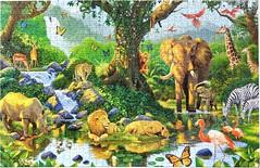 Nature's Harmony (Leonisha) Tags: puzzle jigsawpuzzle jungle dschungel wildanimals wildtiere elefant löwen leopard rhinoceros nashorn