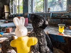 LR Chernobyl 2019-6010654 (hunbille) Tags: birgitteukraine20197lr ukraine chernobyl exclusion zone exclusionzone radiation nuclear disaster 1986 сhеrnоbуl nuсlеаr abandoned derelict pripyat kindergarten kindergarden toy teddy bear rabbit plastic