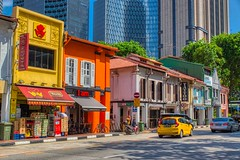 Vibrant traditional shop houses on North Bridge Road in Singapore (UweBKK (α 77 on )) Tags: singapore southeast asia sony alpha 77 slt dslr vibrant color colorful shop house traditional heritage northbridgeroad north bridge road street architecture building car