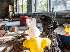 LR Chernobyl 2019-6010645 (hunbille) Tags: birgitteukraine20197lr ukraine chernobyl exclusion zone exclusionzone radiation nuclear disaster 1986 сhеrnоbуl nuсlеаr abandoned derelict pripyat kindergarten kindergarden toy teddy bear rabbit plastic