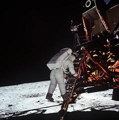 Edwin Aldrin Descends Steps of Lunar Module (NASA APPEL Knowledge Services) Tags: apollo11moonlunarmodulelmspacecosmos spacesuit eagle