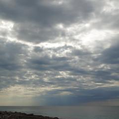 postcard from the seaside   2 (vertblu) Tags: sea seaside seashore water skies clouds rainy horizon cloudy mediterreneansea mallorcaspain vertblu blue grey bluegrey bsquare 500x500 kwadrat