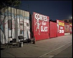 Waiting room (ADMurr) Tags: la car glass repair windshield eastside skeleton cortes mamiya 7 80mm kodak ektar night mf 6x7 dba498